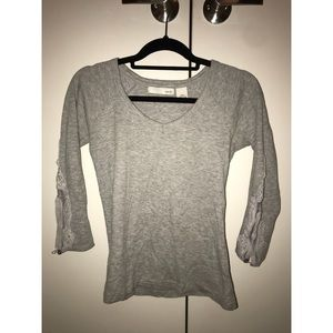 Gray 3/4 sleeve with lace detail on arm